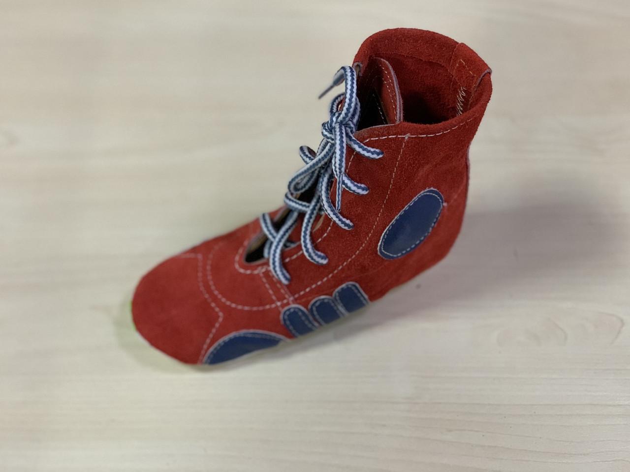 Борцовки Лерман красные с синими вставками подошва замш р.32