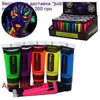 Аквагрим MK 3020  краска,  в тюбике, 10мл,  св.в темн,  24шт(6цветов) в дисплее,  18-8-11см