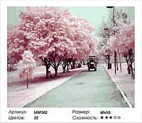 """Набор для рисования Картина по номерам 40х50 """"Цветущий переулок"""" (на подрамнике)МSP302"""