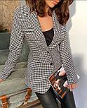 Женский черно - белый пиджак в принт гусиная лапка на подкладе 6309292, фото 2