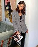 Женский черно - белый пиджак в принт гусиная лапка на подкладе 6309292, фото 3