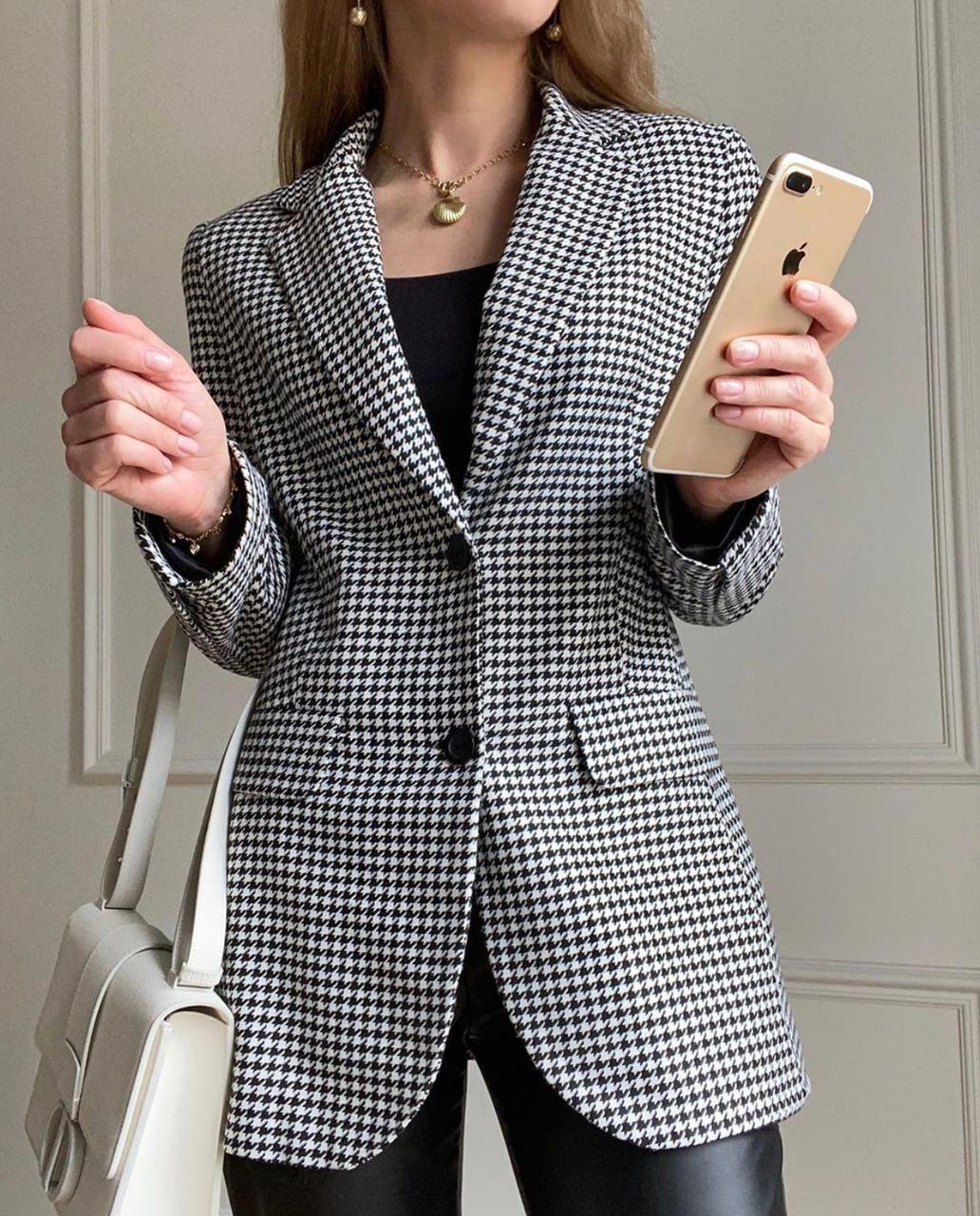 Женский черно - белый пиджак в принт гусиная лапка на подкладе 6309292