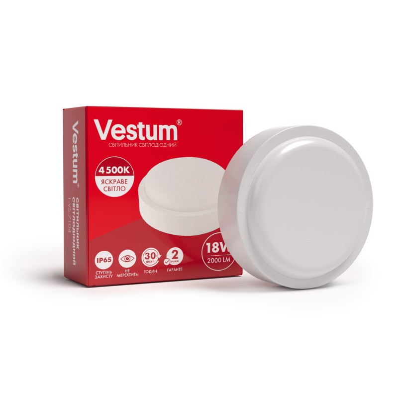 Світильник ЖКГ LED 18W круглий Vestum IP65