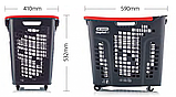 Корзина покупательская пластиковая 80 л на колесах с ручкой SHOP & ROLL 80 L COL, фото 7