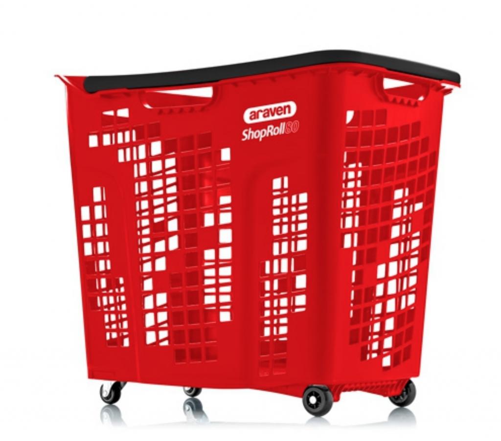 Корзина покупательская пластиковая 80 л на колесах с ручкой SHOP & ROLL 80 L COL