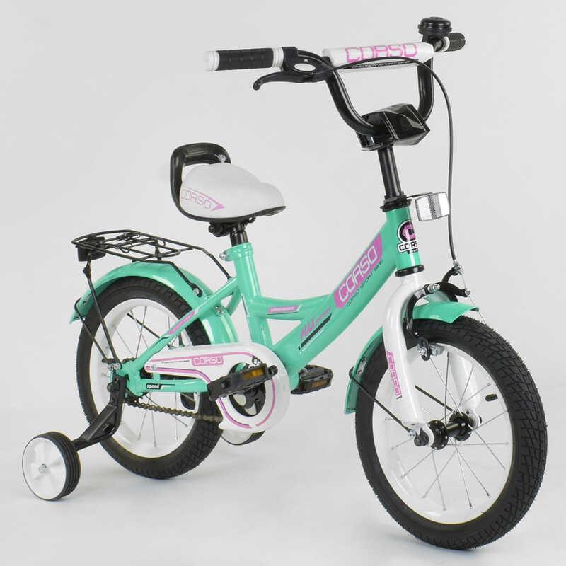 """Велосипед 14"""" дюймів 2-х колісний """"CORSO"""" CL-14 D 0211 (1)БІРЮЗОВИЙ, ручного гальма, дзвіночок,сидіння з ручкою, доп. колеса,ЗІБРАНИЙ НА 75% в коробці"""