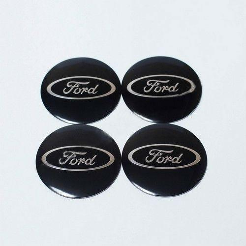 Наклейки для колесных колпачков в легкосплавные диски с логотипом   Ford черные/хром лого (56 мм)