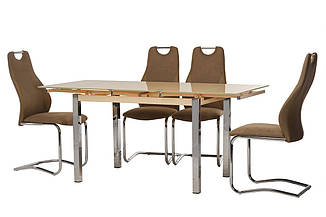 Стол Т-231 кремовый 110/170 от Vetro Mebel, стекло