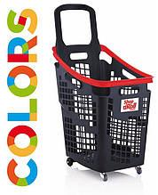 Корзина тележка для супермаркета 65 л на колесах с ручкой SHOP & ROLL 65 L.