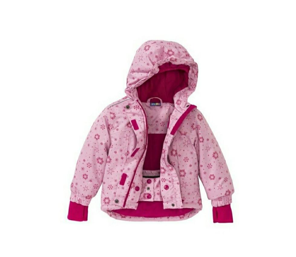 Куртка для девочки розовая в снежинки Lupilu р.98/104, 110/116см
