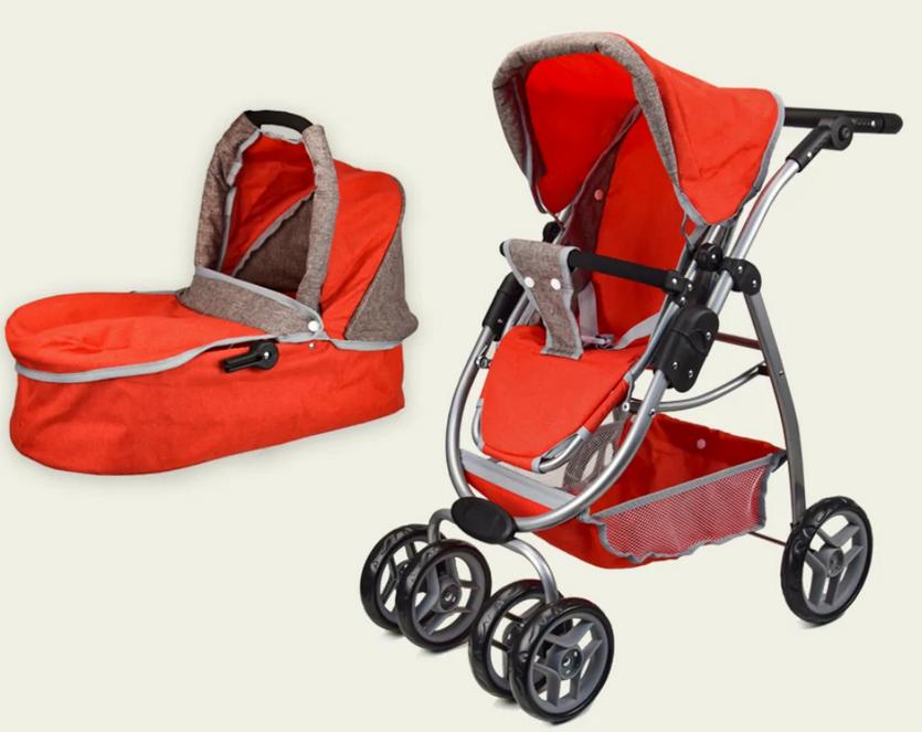 Коляска-трансформер детская для кукол Melogo 9662-Red красная с коричневым