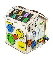 Бизикуб, бизидом: развивающий домик (Бизиборд) деревянный для детей с подсветкой 30х30х40, фото 1