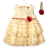 Платье для девочки Цветочная нота, бежевый Zoe Flower (3-6 мес)