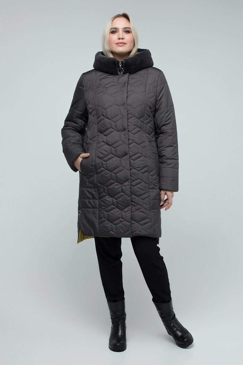 Куртка ТМ ALL POSA Мадрид серый, подкладка - желтый 50 (1387-1)