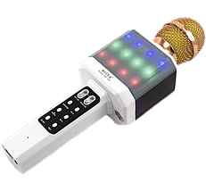 Мікрофон караоке WSTER WS-1828 - Бездротовий мікрофон караоке з динаміком і світломузикою Білий, фото 3