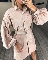 Платье-рубашка вельветовое женское БЕЖ (ПОШТУЧНО), фото 1