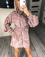 Платье-рубашка вельветовое женское КАПУЧИНО (ПОШТУЧНО), фото 1