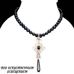 Серебряное ожерелье с натуральным черным Жемчугом Опалом и Cz