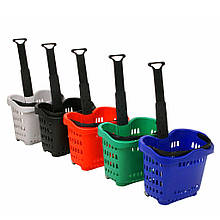 Корзина для супермаркета покупательская 43 л на колесах с телескопической ручкой Genslide