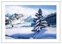 Схема для вышивки бисером Зимний пейзаж