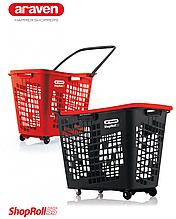 Корзина покупательская пластиковая 55 л на колесах с ручкой SHOP & ROLL 55 L