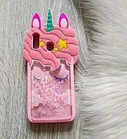 Чехол на Samsung Galaxy A20 2019 SM-A205F 3D Единорог розовый с блестками
