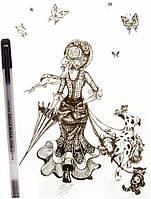 Ручка  гелевая профессиональная Sakura 0,3 мм черная