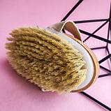 Щетка односторонняя для массажа тела от целлюлита, с натуральной щетиной, овальная, фото 4