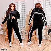 Черный велюровый костюм с капюшоном с 42 по 56 размер, фото 1