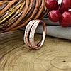 Кольцо Xuping 15075 ширина 8 мм белые фианиты позолота РО размер 19, фото 4
