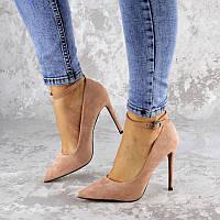 Женские замшевые туфли лодочки на шпильке пудрового цвета Arun