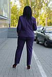 Жіночий діловий костюм з жакета та штанів фіолетовий, фото 3