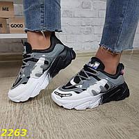 Черно белые женские кроссовки летние с сеткой, фото 1