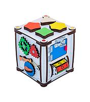 Бизикуб: развивающий кубик (Бизиборд) деревянный для детей с подсветкой 17х17х18