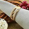 Кольцо Xuping 15062 размер 19 ширина 8 мм вес 3.5 г белые фианиты позолота 18К, фото 2