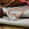 Кольцо Xuping 15100 размер 19 ширина 12 мм вес 4.3 г белые фианиты позолота РО, фото 2