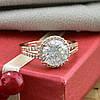 Кольцо Xuping 15100 размер 19 ширина 12 мм вес 4.3 г белые фианиты позолота РО, фото 4