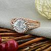 Кольцо Xuping 15100 размер 19 ширина 12 мм вес 4.3 г белые фианиты позолота РО, фото 5