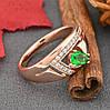 Кольцо Xuping 15114 размер 19 ширина 9 мм вес 2.6 г зеленые фианиты позолота РО, фото 3