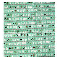 Ткань 70х50 см сине-зеленая Кошкин дом (плотная)