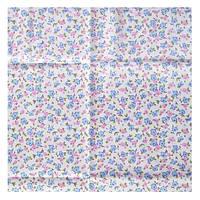Ткань 50х50 см белая Нежные голубые и розовые цветочки