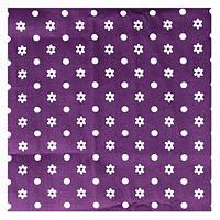 Ткань 98х50 см Фиолетовая с белыми цветочками и горошками