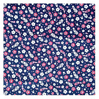 Ткань 49х49 см Синяя с мелкими цветочками