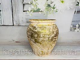 Вазон золотой из красной глины с декорированием Ангоб h 23 см
