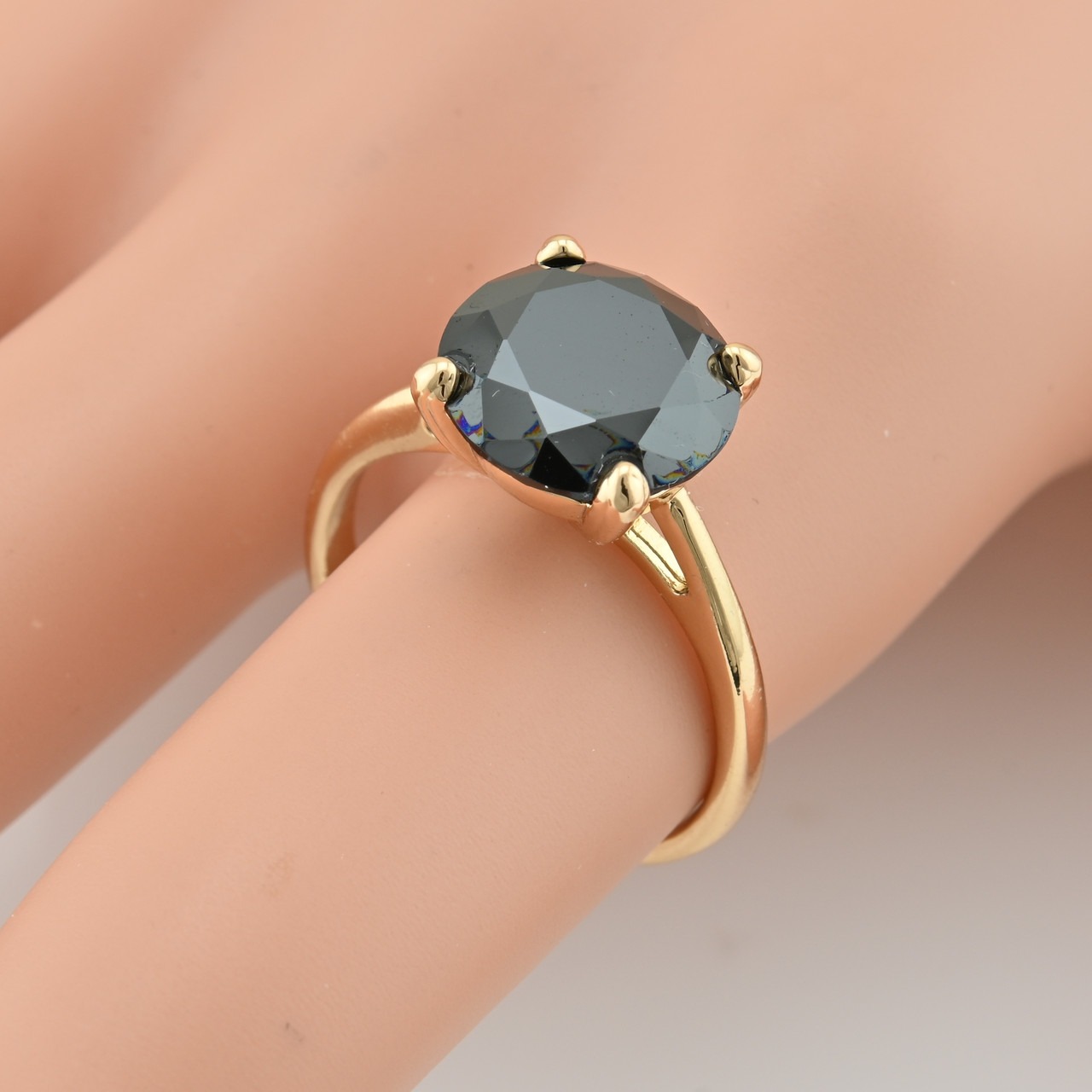 Кольцо Xuping 15083 размер 18 ширина 11 мм вес 3.9 г черные фианиты позолота 18К
