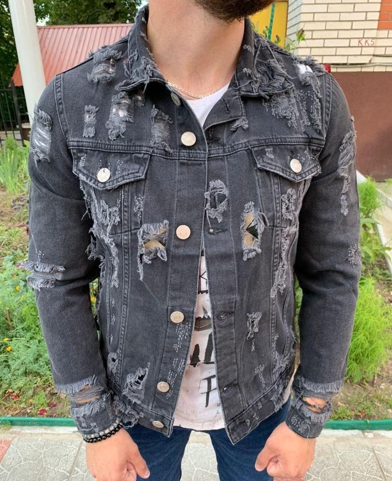 Мужская джинсовая куртка (джинсовка) рваная весна-осень серая Турция. Фото в живую