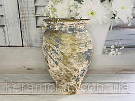 Амфора  (сине золотая) из красной глины с декорированием Ангоб h 35 см