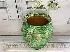 Амфора  зелёная из красной глины с декорированием Ангоб h 32 см