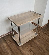 Приставной столик на колесах Мини+стекло+ручка (Fusion Furniture)