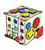 Бизикуб: развивающий кубик (Бизиборд) деревянный для детей с подсветкой 25х25х25